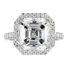 5.19ct H/VVS2 Asscher Diamond Ring | From a unique collection of vintage engagement rings at http://www.1stdibs.com/jewelry/rings/engagement-rings/