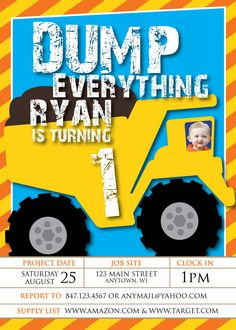 Dump EverythingDump Truck Birthday Party by CollideStudio on Etsy, $15.00