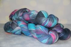Hand dyeing,Angora/PA, 874 yards/800 meters,  night illusions by PositiveCreative on Etsy