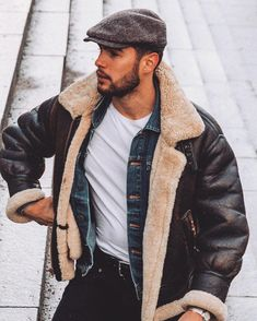 Sheepskin flying jacket Mens Fashion | #MichaelLouis - www.MichaelLouis.com