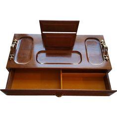 Men's Wood Valet Chest Jewelry Organizer Dresser Desk MIB