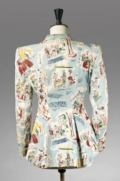 Printed crêpe jacket named 'Images de Paris' with Parisian life scenes (back view) | France, circa 1940-1945