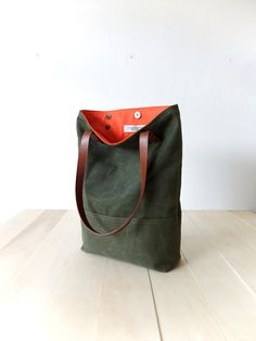 Waxed Canvas Tote in Military Green Brown Leather Straps Handmade Shoulder  Bag Orange Lining Tote Bag 159e783166