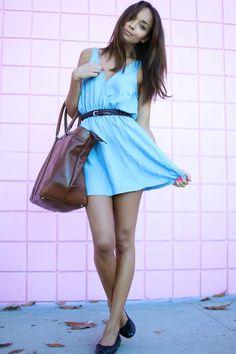 Shop this look on Kaleidoscope (dress, flats, purse, belt)  http://kalei.do/WC9PsOjlv7EgDsml