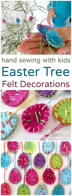 Hand Sewing with Kids, a simple and fun diy project for making felt Easter tree decorations. | Little Worlds, Big Adventures