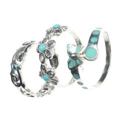 Lovely Turquoise  Silver Toe Rings - Boho Chic ...