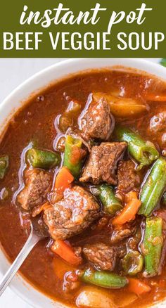 Instant Pot Vegetable Beef Soup Recipe, Instant Pot Pasta Recipe, Vegetable Stew, Veggie Soup, Instant Pot Dinner Recipes, Vegetable Dishes, Beef Soup Recipes, Entree Recipes, Cooking Recipes