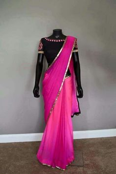 Pink chiffon saree with contrast black blouse