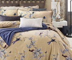 Buy Luxury Jacobean Floral Garden 3 Piece Duvet Cover Set Beige Blue English Vintage Floral Pattern 100-percent brushed Cotton Twill (Full/Queen) - Topvintagestyle.com ✓ FREE DELIVERY possible on eligible purchases