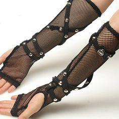 Black Fishnet Elbow Length Studded Steam Punk Fingerless Gloves SKU-71102025