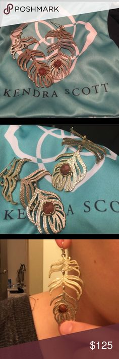 Kendra Goldstone Eileen feather earrings rare EUC earrings with small goldstone stones in the middle! Rare and older style, will consider offers and prefer PayPal! Only flaw is pic 2 the left earring has the faintest hint of tarnish but is nearly impossible to see  Kendra Scott Jewelry Earrings