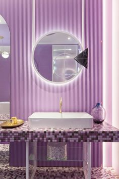 Nayra Iglesias of architecture and interior design firm In Out Studio, has recently completed 'Violet Bliss', a concept boutique hotel suite. Bathroom Vanity Designs, Best Bathroom Vanities, Bathroom Interior Design, Bathroom Ideas, Interior Decorating, Purple Bathrooms, Purple Rooms, Pastel Interior, Purple Interior