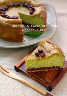 Matcha & Sweet Red Bean Cheesecake (Korean Recipe, 말차&팥앙금 치즈케익)