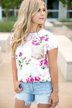 Always Yours Pink Floral With Sequin Pocket Top – Ivory Gem