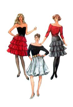 Simplicity 8246 Flared, Tiered, Ruffled and Bubble Party Skirts in Two Lengths, Uncut, Factory Folded Sewing Pattern Size 8 80s Skirts, Bubble Party, Bubble Skirt, 80s Outfit, Evening Dresses For Weddings, Party Skirt, Sewing Patterns, Vintage Patterns, 80s Fashion