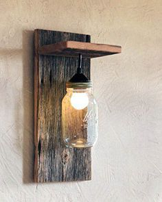 Mason Jar Lamp – Reclaimed Wood Wall Lamp – Reclaimed Wood Lighting – Modern Rustic Sconce – Wall Mounted Light – Rustic Decor – Country - All For Decoration Rustic Wall Lighting, Rustic Lamps, Wood Lamps, Farmhouse Lighting, Wall Sconce Lighting, Lighting Ideas, Outdoor Lighting, Wood Sconce, Rustic Lanterns