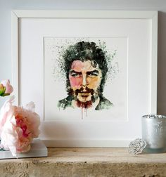 Watercolor portrait of Che Guevara, one of the world symbols for rebellion.  !!INSTANT DOWNLOAD: This is a DIGITAL PRODUCT - NO PHYSICAL PRODUCT WILL
