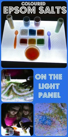 Four Little Piglets: Coloured Epsom Salts on the Light Panel use food coloring Sensory Bins, Sensory Play, Sensory Rooms, Sensory Table, Preschool Science, Science For Kids, Reggio, Overhead Projector, Light Board