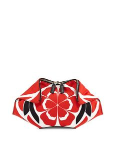 Small De-Manta Floral-Print Clutch Bag, Red/Black/White by Alexander McQueen at Bergdorf Goodman.