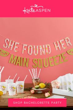 This year round bachelorette theme will make your wifey to be excited to celebrate the weekend with her best gals! The party kit is packed with 49 pieces and can be easily set up at any bachelorette destination. | She Found Her Main Squeeze 49 Piece Party Kit | Kate Aspen Party Kit, Party Packs, Bachelorette Themes, Kate Aspen, Main Squeeze, Shower Kits, Love Is Sweet, Baby Shop, Baby Gifts
