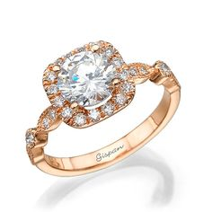 Unique engagement ring Rose gold ring Wedding by gispandiamonds