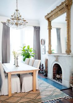 Dining room with traditional fireplace, mirror and chandelier, plus rustic modern furnishings. A Colonial Home with a Contemporary Twist Cute Dorm Rooms, Dining Room Design, Dining Rooms, Dining Table, Dining Set, Fine Dining, Console Table, Room Wall Decor, Cheap Home Decor