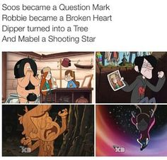 """Also I noticed that in the episode of when Bill try's to steal the code to the safe in the mystery shack for Gideon, he said """"Hello, pine tree, question mark, shooting star"""" He was talking to Soos, Mable, and Dipper. Those three are for sure"""