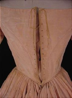 c. 1848 Blush Rose Pink Silk Moire Ball Gown - back lacing closure