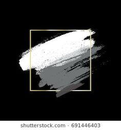 Brush strokes and square linear golden frame on black background. Flower Backgrounds, Abstract Backgrounds, Black Backgrounds, Wallpaper Backgrounds, Brush Background, Background Design Vector, Background Images, Overlays Picsart, Youtube Channel Art