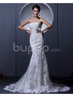 Tulle Strapless Court Train Sheath Wedding Dress with Embroidered Beaded
