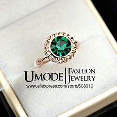 Sparkling! 18K Rose Gold Plated Emerald Crystal Stone Finger Ring (Umode JR0103) US $5.57