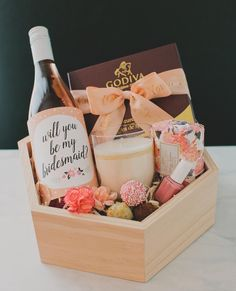 """Looking for a sweet way to ask your besties to be in your wedding? We are sharing how to create this """"Will You be my Bridesmaid"""" box we… Asking Bridesmaids, Bridesmaids And Groomsmen, Ask Bridesmaids To Be In Wedding, Bridesmaid Gifts Will You Be My, Wedding Ideias, Bridesmaid Gift Boxes, Bridesmaid Baskets, Classy Bridesmaid Gifts, Bridesmaid Wine Bottle"""