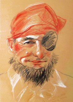 "Caricature ""Pirate"", colored pencils, 30x50cm, author - #Malwina #Gruszecka, www.karykatury.art.pl, #portrait #caricature #drawing"
