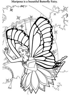 BARBIE MARIPOSA coloring pages - 20 online Mattel dolls printables ... | 325x236