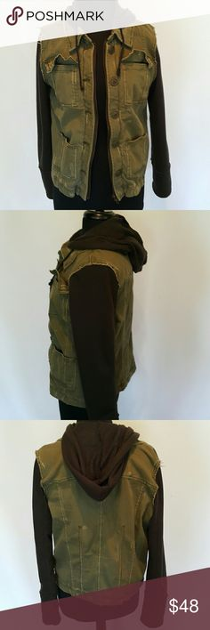 Free People hoodie jacket army style Super cute Free People jacket in distressed army green cotton with black hoodie and sleeves.  Pockets and details abound.  Worn once. Free People Jackets & Coats Jean Jackets