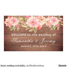 Shop Rustic wedding coral dahlia flowers brown wall banner created by EllenMariesParty. Wedding Coral, Sparkle Wedding, Elegant Wedding, Rustic Wedding, Our Wedding, Wedding Ideas, Wedding Supplies, Wedding Favors, Dahlia Flowers