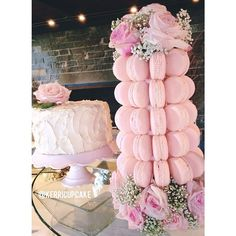 Macaron Tower. Blush and Ivory. Custom Wedding Tower. Fresh Roses and Macarons. Shabby Chic Wedding. Dessert. #VillageIndulgence. @Kerricupcake on Instagram