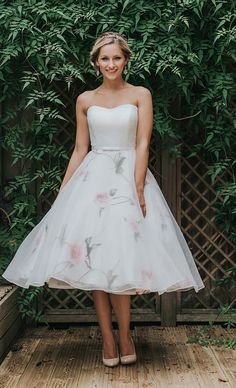 Tea Length Wedding Dress R1039 White Rose