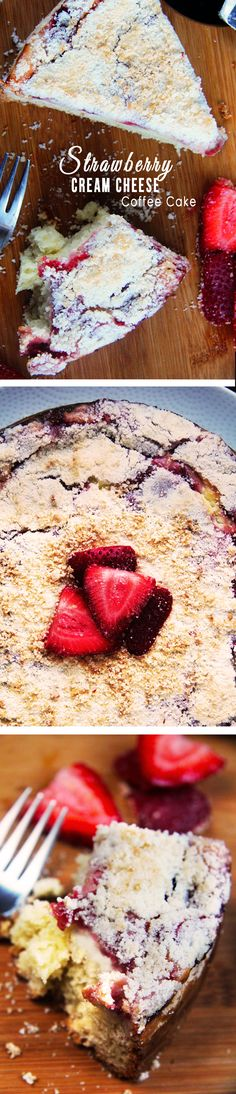 CRAZY GOOD! Buttery, moist coffee cake, layered with velvety cream cheese, fresh sweet strawberry jam and buttery sugar crumb topping. This would be so perfect for BRUNCH!   | Carlsbad Cravings