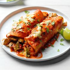 Farmers Market Enchiladas Recipe -These vegetarian enchiladas use a lot of garden favorites in a quick weeknight meal. Feel free to substitute whatever vegetables you have from your garden—yellow summer squash, eggplant and corn all taste great here, too. Vegetarian Enchiladas, Vegetarian Dinners, Vegetarian Recipes, Cooking Recipes, Healthy Recipes, Beef Enchiladas, Cooking Ideas, Healthy Meals, Empanadas