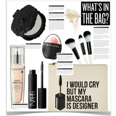 Whats in my makeup bag? by chakragoddess on Polyvore featuring Belleza, Lancôme, NARS Cosmetics, Too Faced Cosmetics, Sephora Collection, Anna Sui, Beauty, makeup and beautyset