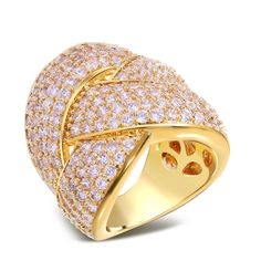 Party Ring jewelry new arrival Trendy Big Lady Ring setting Aaa crystal stones Sparkly Gold rings