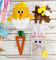 Popsicle stick crafts for kids, craft sticks, craft stick c Spring Crafts For Kids, Bunny Crafts, Easter Crafts For Kids, Cute Crafts, Crafts For Teens, Easy Crafts, Diy And Crafts, Kid Crafts, Popsicle Stick Crafts For Kids