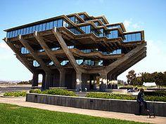 "University of California, San Diego's distinctive Geisel Library. Named for Theodor Seuss Geisel (""Dr. Seuss"")."