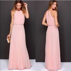 Blush pink maxi dress long bridesmaid wedding sexy Soft accordion pleat dress with lining available in XS S or M SHIPS IMMEDIATELY Dresses Maxi
