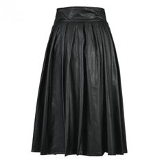 Black PU Faux Leather A Line Skater Mid Calf High Waist Pleated Skirt