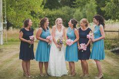 Blue Navy Powder Bridesmaid Dresses Short Victorian Railway Station Wedding http://annamorganphotography.co.uk/