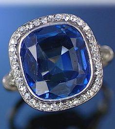 An Art Deco sapphire and diamond ring, circa 1920.