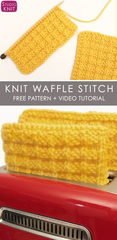 Yum! How to Knit the Waffle Stitch with Free Knitting Pattern + Video Tutorial by Studio Knit #StudioKnit #knitstitchpattern #KnittingStitches