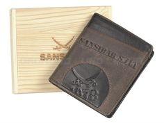 Sansibar VINDA - Leder Geldbörse Geldbeutel Portemonnaie hoch in Holzkiste - espresso - Herrenbörse Leder